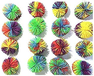 16 PCS Mix Color Monkey Stringy Balls,Koosh Ball Size of 3 inches Stringy Play Ball, Sensory Fidget Toys, Stress Balls with Rainbow Pom Ball, Colorful Bouncy Ball