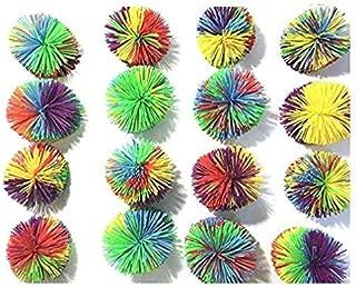 16 PCS Mix Color Monkey Stringy Balls,Koosh Ball Size of 3 inches Stringy Play Ball, Sensory Fidget Toys, Stress Balls with Rainbow Pom Ball, Colorful Bouncy Ball