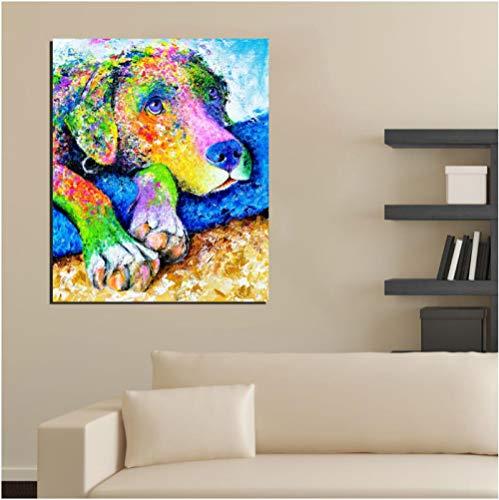 Jwqing Kunstdruk Schilderij, kleurrijk, hondenmatras op canvas, moderne wand, kunstdruk, voor woonkamer, decoratie thuis (60 x 80 cm zonder lijst)
