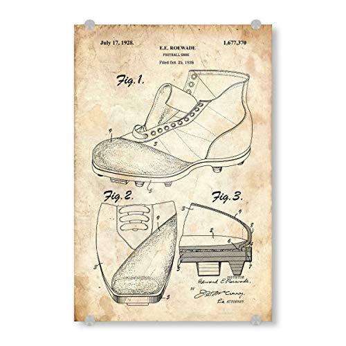 artboxONE Acrylglasbild 150x100 cm Sport Fußballschuhe patent (Antik) - Bild fußballschuhe patent Vintage