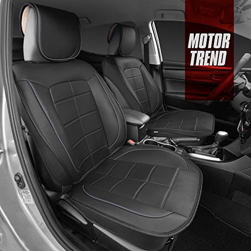 Motor Trend Premium Faux Leather Car Seat Covers for Front Seats – Modern Luxurious Style with Two-Tone Accents, Extra Thick Padding for Comfort, Universal Fit Design for Car Truck Van and SUV, Gray