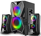 NJSJ 2.1 Sistema de Altavoces con Subwoofer, RGB Sonido Potente,20W de Pico,Graves Potentes, Entradas Audio 3.5 mm/RCA, Multidispositivos, Enchufe EU, PC/PS4/Xbox/TV/Smartphone/Tablet Monitor