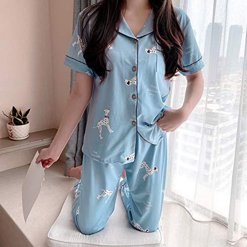 LLGG Pyjamas Frauen Kurze Sommer Pyjamas,Sommer Kurzarm Pyjama Frauen, Student Cardigan Home Wear-Blauer Hund_M,Shirt und Hose Zweiteiliger Pyjama