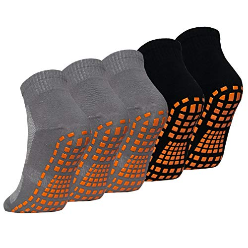 Cindeyar 5 Paar Yoga Socken für Damen & Herren Rutschsocken Baumwolle Sneakersocken Sportsocken (L/XL(EU 41-44), Grau 3*Schwarz 2-5 Paar)