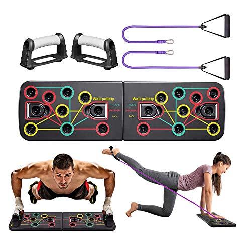 Yoophane Push Up Board, 13 in 1 Push Up Fitness System Stand, Pieghevole Multifunzionali Body Buiding Push Up Rack Board, con Fascia di Resistenza Attrezzature per Il Fitness e Palestra Maniglia