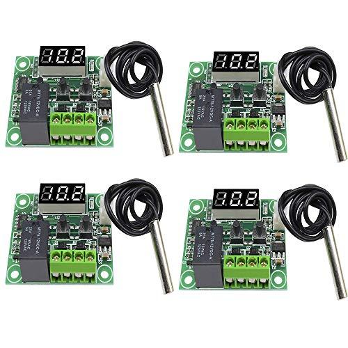 Aideepen 4 Stück Digitales LED-Thermostat 12 V W1209 Temperaturregler Inkubator Brauen thermische Heizung Kühlung Kontrolle Messgerät DC Rot