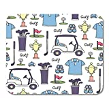 Mouse Pads Bag White Drawn with Colored Symbols of Golf Pattern on The Hobby Game Recreation Site Hand Ball Mouse Pad for Notebooks,Desktop Computers Mouse Mats, Office Supplies