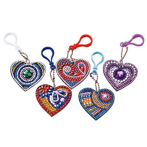 UM UPMALL DIY-Schlüsselanhänger, Diamant-Malerei-Kits für Kinder, voller Bohrer, Strass-Mosaik, dekorative Kits für Kunst, Handwerk, Herzform, 5 Stück