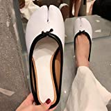 TAYIBO Adultes Garçon Fille Sandales d'été,Sandales à Bout Fendu, Bouts Plats, Portant des Chaussures de Pied de Cochon-Noir et Blanc_35