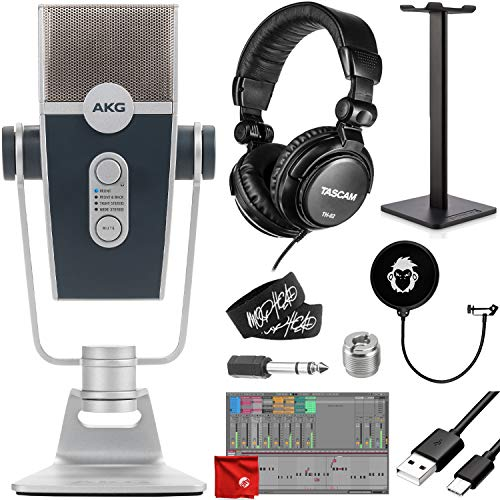 AKG Pro Audio Lyra Ultra-HD Four Capsule Multi-Capture Mode USB-C Condenser Microphone Bundle with Tascam TH-02 Closed Studio Headphones, Headphone Stand, Mophead Pop Filter, Cable Ties