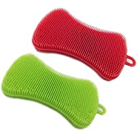 Esponjas de silicona VANTIYAUS (2 paquetes) de silicona para lavar platos, cepillo de esponja para limpieza de cocina, resistente al oído, antiadherente (frotar, cepillo, lavar)