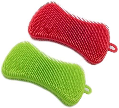 Esponjas de silicona (2 paquetes) cepillo de esponja de silicona para limpieza de cocina, resistente al oído, antiadherente (exfoliante, cepillo, lavado)