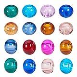 PandaHall 100 Stück Bunt Glas Europäische Perlen Runde Große Lochperlen Gemischte Farbe, Keine Metallkern