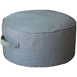 """ZooBoo Floor Sitting Cushion Footstool -Janpanese Large Oversized Round Seating Sofa Pouf Foot Leg Rest Step Stool Ottoman Pillow Chair for Kids Adults Indoor Outdoor - Diameter 15.7"""" (40*20cm, Grey)"""