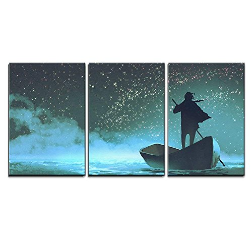 wall26 - 3 Piece Canvas Wall Art - Illustration - Man Rowing a Boat in The Sea Under Beautiful Sky with Stars - Modern Home Art Stretched and Framed Ready to Hang - 16'x24'x3 Panels