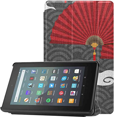 Cover Kindle7ScreenProtectorAndCase Asian Style Holiday Blessing Fan Fire79thGenCase For Fire 7 Tablet (9th Generation, 2019 Release) With Auto Sleep/wake