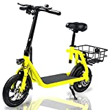 Phantomgogo Commuter R1 - Electric Scooter for Adults - Foldable Scooter with Seat & Carry Basket - 350W Brushless Motor 36V - 15MPH 215lbs Max Load E Mopeds for Adults