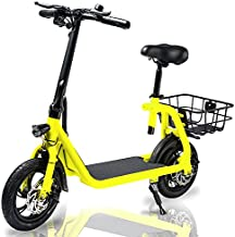 Phantomgogo Commuter R1 - Electric Scooter for Adults - Foldable Scooter with Seat & Carry Basket - 350W Brushless Motor 36V - 15MPH 265lbs Max Load E Mopeds for Adults