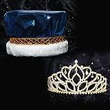Anderson's Blue Metallic Crown and Gold Mirabella Queen Tiara Royalty Set