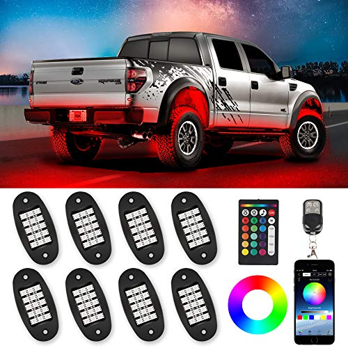 TACHICO RGB LED Rock Lights with APP/Double RF Remote Control,120 LEDs Multicolor Underglow Neon IP68 Flashing Music Timing Mode Light Kits for Jeep Off Road Truck ATV Motorcycle, DC 12V£¨8 Pods£