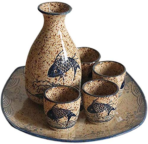 Sunjiaxingzd Japanisches Sake-Set, 5 Stück Sake Cup mit Keramik-Tablett, Malerisches Textur Elegant Design, for Kalt/Warm/Shochu/Tee for Familie und Freunde Traditioneller Sake Set Sake-Gesche