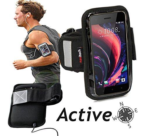 Navitech wasserdicht Schwarz Sport/Fitness/Jogging/Radfahren/Skifahren Armband Tasche Oberarmtasche Schutz Hülle Etui Case für dasHTC Desire 10 Lifestyle