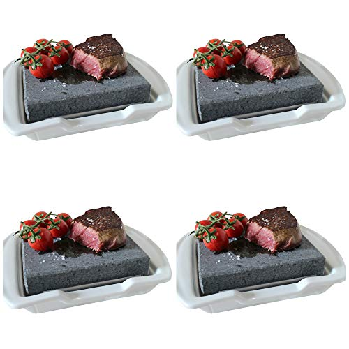 Black Rock Grill Steak Stone Hot Rock and Plates, SET OF 4