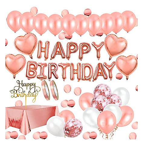 PANGF Happy Birthday Confetti Balloons, 38 Balloons and 5 Decorations, A Complete Set of Balloons for Birthday Parties, Suitable for Children's and Adult Birthday Parties