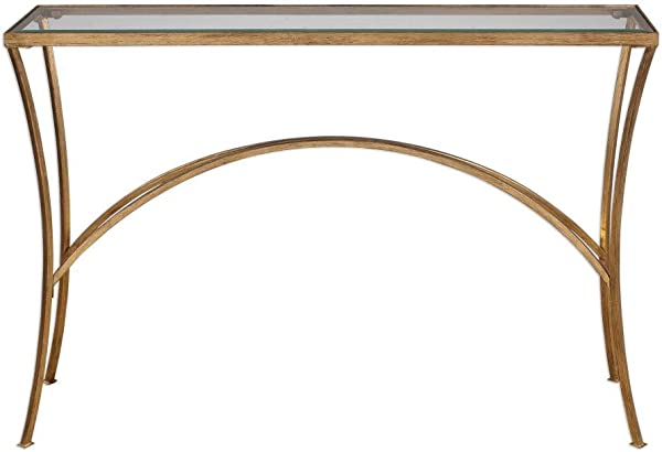 Uttermost 24640 Alayna 48 Console Table Antique Gold Leaf Finish With Clear Beveled Tempered Glass