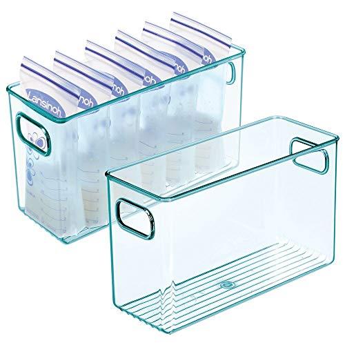 mDesign Juego de 2 cestas organizadoras para cuarto de bebé – Contenedor plástico grande con prácticas asas – Caja para juguetes, peluches o pañales en plástico libre de BPA – azul claro