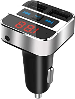 Bluetooth FM Transmitter for Car with AUX Input, Blufree Wireless Bluetooth 4.2 in-Car FM Radio Audio Adapter Hands-Free C...