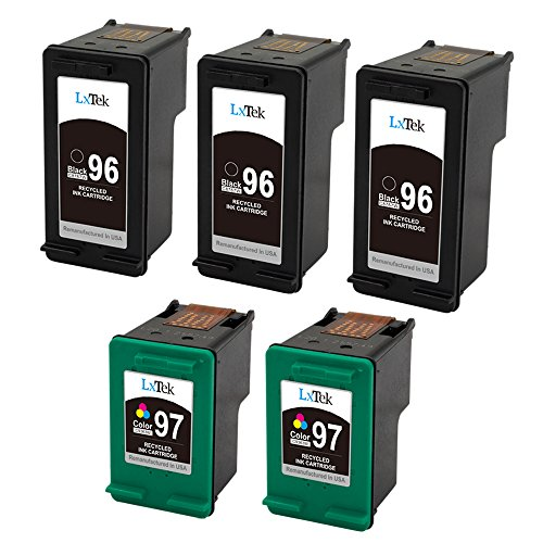 LxTek Remanufactured Ink Cartridge Replacement for HP 96 & HP 97 (3 Black | 2 Tri-Color) C8767WN C9363WN