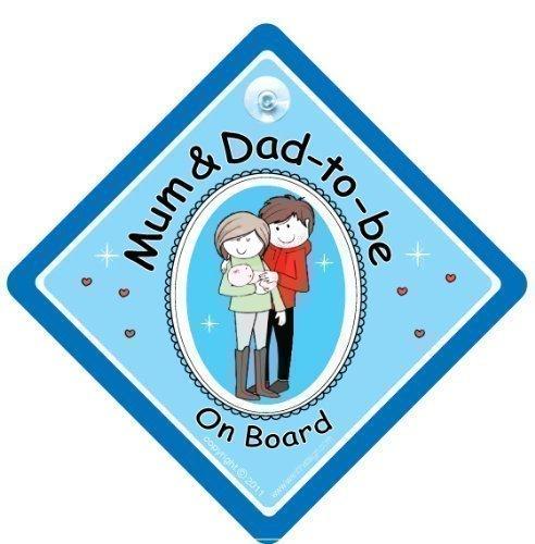 Enseignes pour voiture avec les inscriptions «Mum and Dad to be», «Baby on Board», «New Mum and Dad» ; décalques et autocollants de maternité, paternité, avec image de nouveau-né (français non garanti)