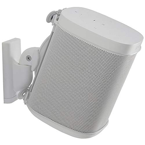 Sanus Wireless Speaker Wall Mount Sonos ONE, ONE SL, Play:1, & Play:3 - Tool Free Tilt & Swivel Adjustments for Best Audio - Single (White) - WSWM21-W1