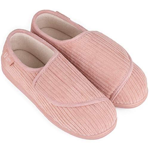 LongBay Women's Furry Memory Foam Diabetic Slippers Comfy Cozy Arthritis Edema House Shoes (9 B(M), Pink)
