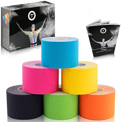 Talasi Kinesiologie Tape Set - 6 Rollen Mix zu je 5cm x 5m – inkl. Tape-Guide mit Infos und Anleitungen zum Tapen mit Kinesio Tapes
