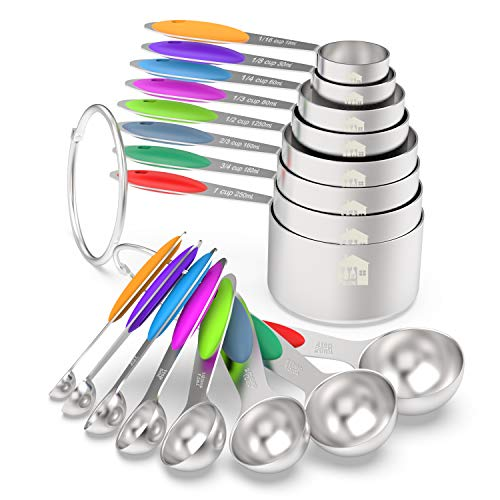 Measuring Cups & Spoons Set of 16 - Wildone Premium Stainless Steel Measuring Cups and Measuring Spoons with Colored Silicone Handle, including 8 Nesting Cups, 8 Spoons, for Dry and Liquid Ingredient