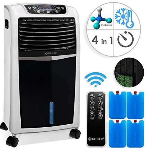 KESSER® 4in1 Mobile Klimaanlage | Fernbedienung | Klimagerät | Ventilator Klimaanlage | 8 L Wasser/Eis Tank | Timer | 3 Stufen | Ionisator Luftbefeuchter | Luftkühler | Weiss/Schwarz