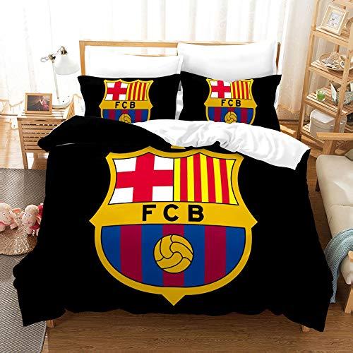 AINYD Lleva el Logo del Barcelona Football Club Muy Suave Transpirable Microfibra Juegos de Fundas para edredon, Funda nórdica con Cremallera(220x240cm), Respirable Almohada