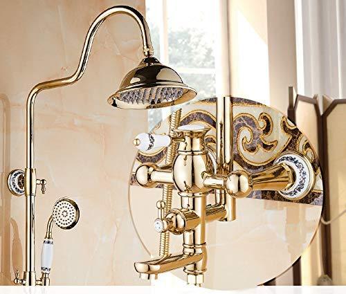 De gouden douchecabine-set van koper, compleet met kraan voor koude en warme douche. H