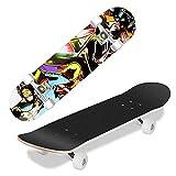 WeSkate Skateboard Kinder - 31x8 Zoll Komplette Cruiser Skateboard für Anfänger Jugendliche und Erwachsene,7-Lagiger Kanadischer Ahorn Double Kick Deck Concave mit ABEC-7 Kugellager , Belastung 100kg