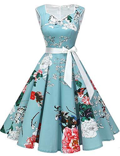 1950 Vintage Cocktail Vestito di Stile Audrey Hepburn Abito da Skirt Swing Floral XS