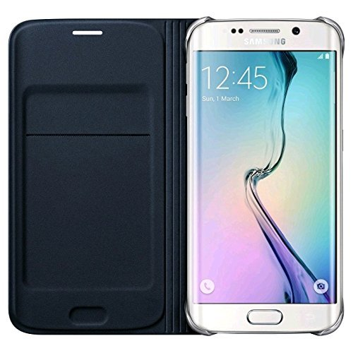 Samsung Flip Wallet Schutzhülle (Kunstleder, mit Kreditkartenfach, geeignet für Galaxy S6 Edge) schwarz