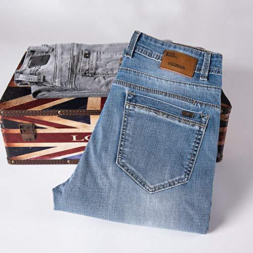 ileibmaoz Jeans Hombres Jeans Classic Straight Regular Fit Gray Blue Stretch Jeans para Hombres Primavera Verano Pantalones De Mezclilla Casuales Pantalones Largos-Blue_31