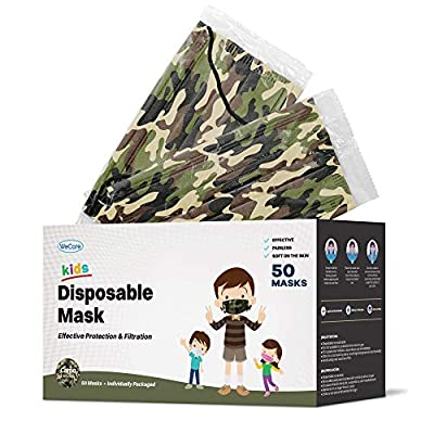 WeCare Disposable Face Mask Individually Wrapped - 50 Pack, Camo Face Masks