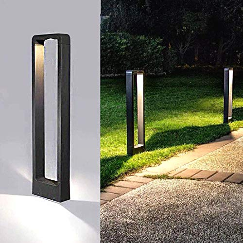 TDYWO Poteau Éclairage de Pelouse, LED Borne Lumineuse Exterieur Lampe Jardin 6500K lumière IP65 étanche Bollard Lampe en Aluminium 10W Patio Borne Lumineuse borne Lumineuse Exterieur LED (600MM)