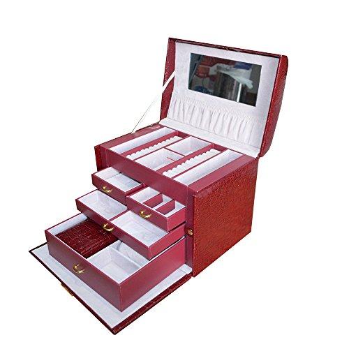 Maleta Luxo Estojo Caixa Porta Jóias Bijuterias Relógio - Unyhome B190 (Vermelho)