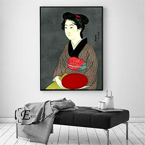 Japanische Geisha Retro Poster drucken Ölgemälde Wandkunst Wandbild auf Leinwand für Wohnzimmer Dekoration,Rahmenlose Malerei-80X105cm