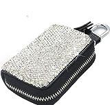 Bestbling Bling Rhinestone Leather Zip Key Case Cover Bag Car Key Holder Wallet for Wamen (Black)