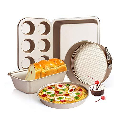 5-teiliges Backformen-Set aus Karbonstahl, antihaftbeschichtet, 20,3 cm offener Boden, Kuchenform, Toastbox, Küchenofenblech, Pizzablech, Brotform und 6-Loch-Kuchenform (Gold)